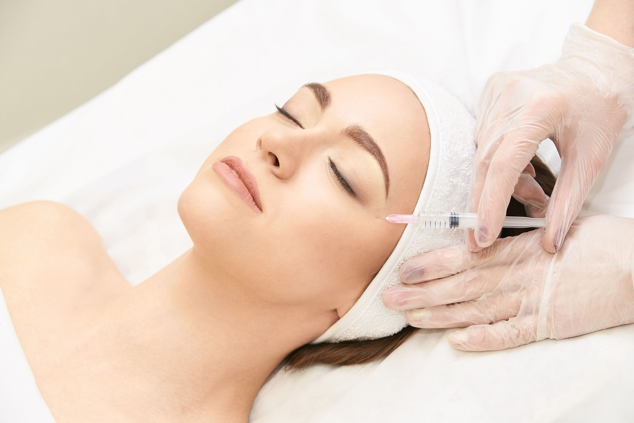 Anti wrinkle surgery. Beauty young woman injection. Facial treatment
