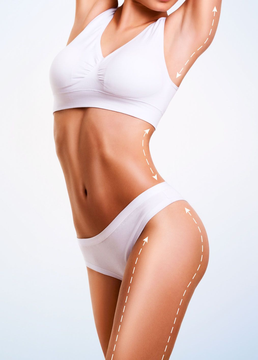Female body, cosmetic surgery and skin liposuction.